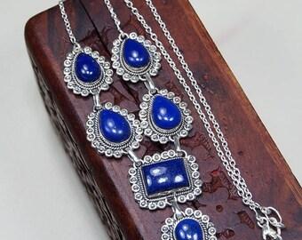 """Lapis lazuli necklace - Lapis lazuli jewelry -925 Sterling silver-lapis necklace - lapis jewelry - deep blue stone necklace 18 1/4"""" X1175"""