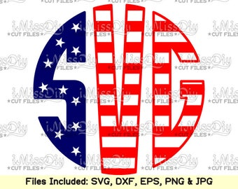 Stars stripes monogram font svg download alphabet letters letter fonts svg files for Cricut Silhouette Dxf svg design cutting file cut files