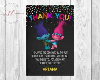 Chalkboard Trolls Thank You Card