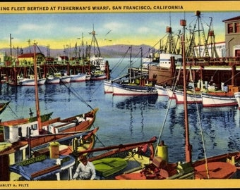 Mint ~ FISHERMAN'S WHARF, San Francisco, Calif; Fishing Fleet; Linen Postcard c. 1930s