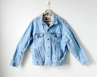 90s Levi Riveted Denim Jacket - 90s Jacket - 90s Light Wash Denim - 90s Denim Jacket - Vintage Denim Jacket - Heavy Denim Jacket - Men's L