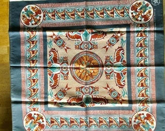 Vintage blue aztec design bandana, Made in USA, crafted with pride in America, cotton polyester mix, neckerchief, scarf, dog bandana