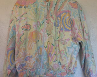 Reversible Colorful Pastel Zip-up Jacket with Aquatic theme