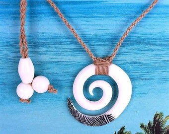 Summer Sale Hawaiian Hand Carved Buffalo Bone Wave Necklace, US Free Shipping!