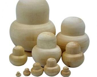 10pcs New Wooden Embryos Russian Nesting Matryoshka Dolls Toys Unpainted DIY Blank for Children Kids Gift