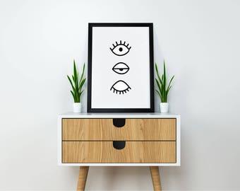 Modern Art, Eye Print, Modern Printable, Mid Century Modern Art, Minimalist Art, Eye Art, Large  Black and White Art, Large Wall Art, Modern