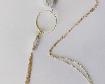Long Gold Chain Mother of Pearl Necklace - 14K Gold Filled