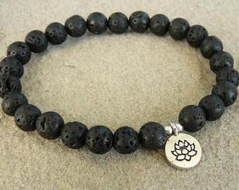Men's Lotus bracelet for man black lava rock bracelet Yoga jewelry Volcanic lava bracelet with charm beaded bracelet  gift for men jewelry