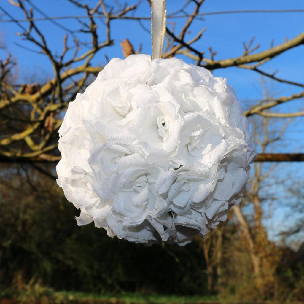 White Flower Ball White Kissing Ball Paper Flowers Wedding Flower