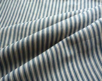 Antique French linen  ticking fabric/Ingigo blue stripe ticking/original antique french linen ticking /19thc French textile