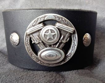 Handmade Leather Cuff Featuring V-Twin Engine Concho