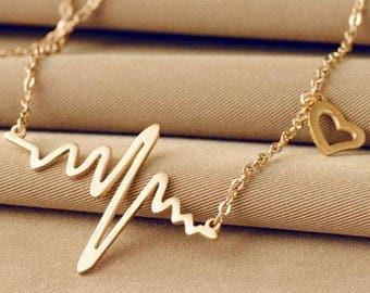 Simple wave heart necklace, Heart pendant gold plated necklace, Simple geometric necklace, Romantic love necklace, Golden chain necklace H61