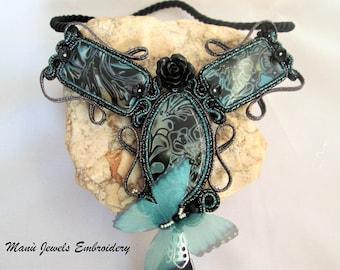 soutache necklace gothic black