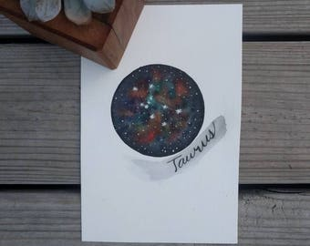 Watercolor Galaxy Taurus Constellation Original Art Work