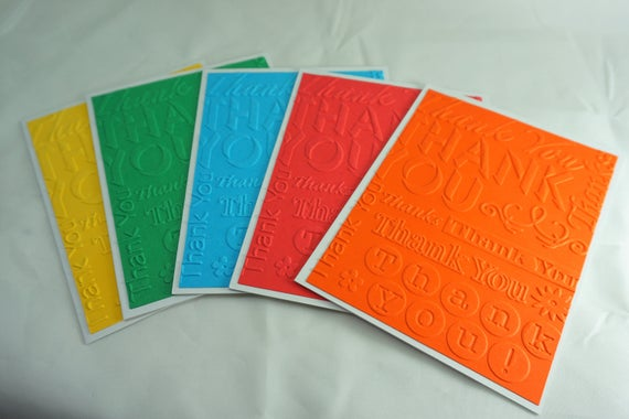 CLEARANCE! Set of 5 colorful blank thank you cards| Card set| Embossed cards