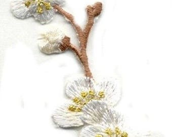 FLOWER right WHITE WITH brown steam iron on patch