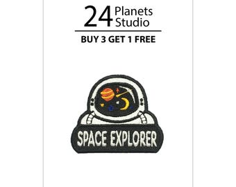 Mini Astronaut Space Explorer Iron on Patch by 24PlanetsStudio