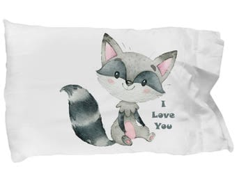 Raccoon I LOVE YOU Cute Pillowcase Bedding Gift Present Valentine's Day Anniversary Birthday Nursery Deocration