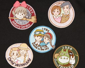 5pcs Set Totoro Only Yesterday  Castle in the sky  Whisper of the Heart kikis delivery service Embroidered Iron on sew on patches