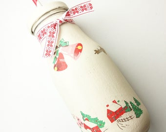 Chalk Painted Milkbottle, Christmas/winter/thanks giving decor (Cath Kidston style)