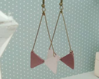 Old pink and purple leather bow earrings lightweight