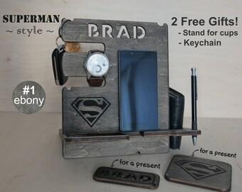 Mens gift, Gift for Men, Personalized docking station, Gift for him, Gift for husband, Gift for dad, iphone dock, Superman gift idea, Men