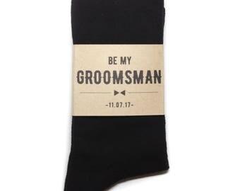 Be My Groomsmen Sock Label | Groomsmen/Best Man Gifts | Socks with Custom Labels | Groom Proposal Ideas