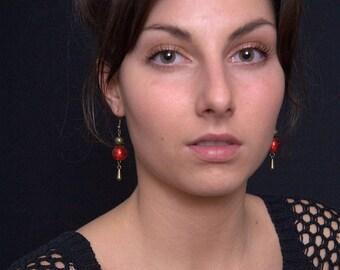 Red earrings - dangle bronze earrings - red dangle earrings - red Pearl Earrings