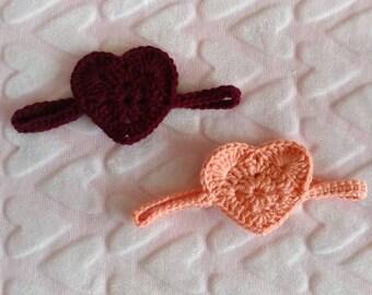Heart Headband - Baby Girl Headband - Little Girl Headband - Girl Headband - Crocheted Headband - Valentines Day Headband