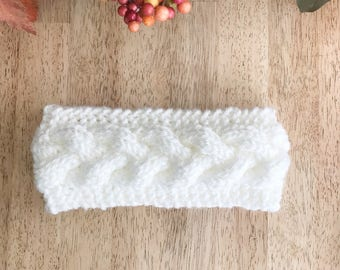 White Knit Headband - Knit Earwarmer - Winter Headband - Knit Cable Earwarmer - Chunky Headband - White Knit Earwarmer - Braided Headband