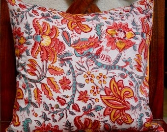 Indian series C: 40x40cm (16 x 16 inch) cotton Cushion cover. Multicolored floral patterns. Orange cotton.