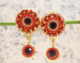 Round Red Clip On Earring, Vintage Dangle Clip Ons, Non Pierced  Earring, Gold Small Clip on Earring, Swarovski Vintage Clip on Earring