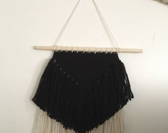 Black and Off White / Ivory Fringe Woven Wall Hanging