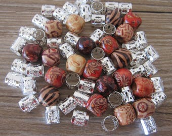 70 Wooden And Silver Dreadlock Beads Dread Braid Beads 5-6mm Hole