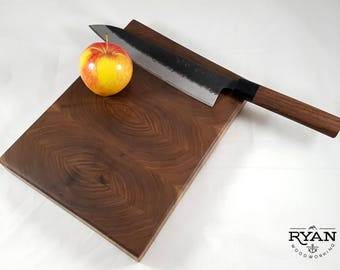 Handmade end grain cutting board or cheese / charcuterie board made from black walnut - Made in Calgary, Canada!