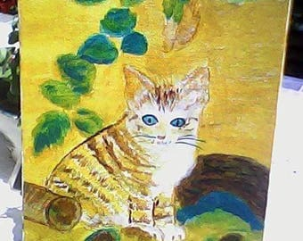 ACRYLIC PAINTING ON CANVAS FRAME CAT