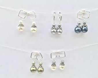 Swarovski pearls earrings, silver and swarovski pearls earrings,