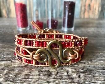 Red, Gold & Amethyst Leather Wrap Bracelet - Handmade - Uk Seller - Tribal - Indian