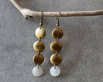 Earrings with mother of Pearl and bronze charms