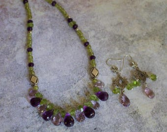 Peridot, Amethyst and pink Amethyst Briolettes with Silver Necklace and Matching Earrings.