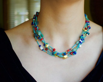 Turquoise, carnelian, amazonite, labradorite, lapis, coral with 18k solid Gold Necklace