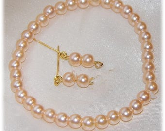 """Precious peach pearl necklace and earring set fo r15-18"""" dolls. Handmade by Nims"""