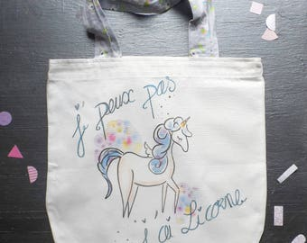 tote bag personalized cotton, unicorns, kawaii