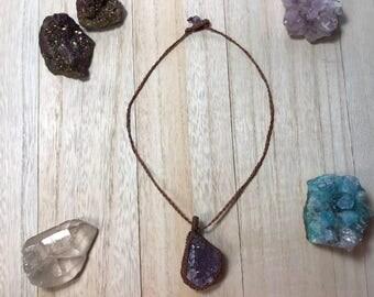 Amethyst quartz stone brown necklace