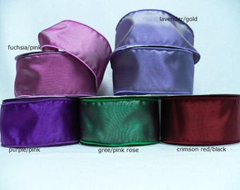 5 yards solid wired ribbon, taffeta two tone blend wired ribbon for wedding, wreath supplies, floral ribbon.