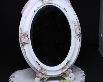 """Footed irror spirit shabby chic """"old roses"""""""