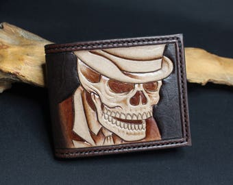 Hand Tooled Leather Bi-Fold Wallet
