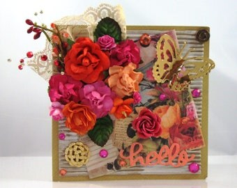 Beautiful Handmade Floral Greeting Card with Orange and Pink Flowers and Butterfly, Embellished, Hello, Friends, General, Happy
