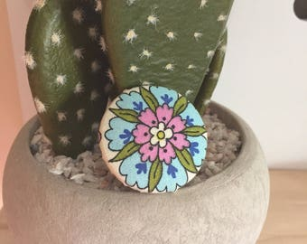 Blue and Pink Flower Ring, Adjustable