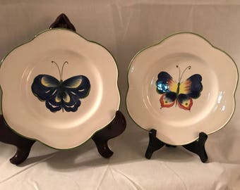 Vintage San Marco of Italy Butterfly Scalloped Plates